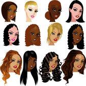 Karışık biracial kadınların yüzleri — Stok Vektör