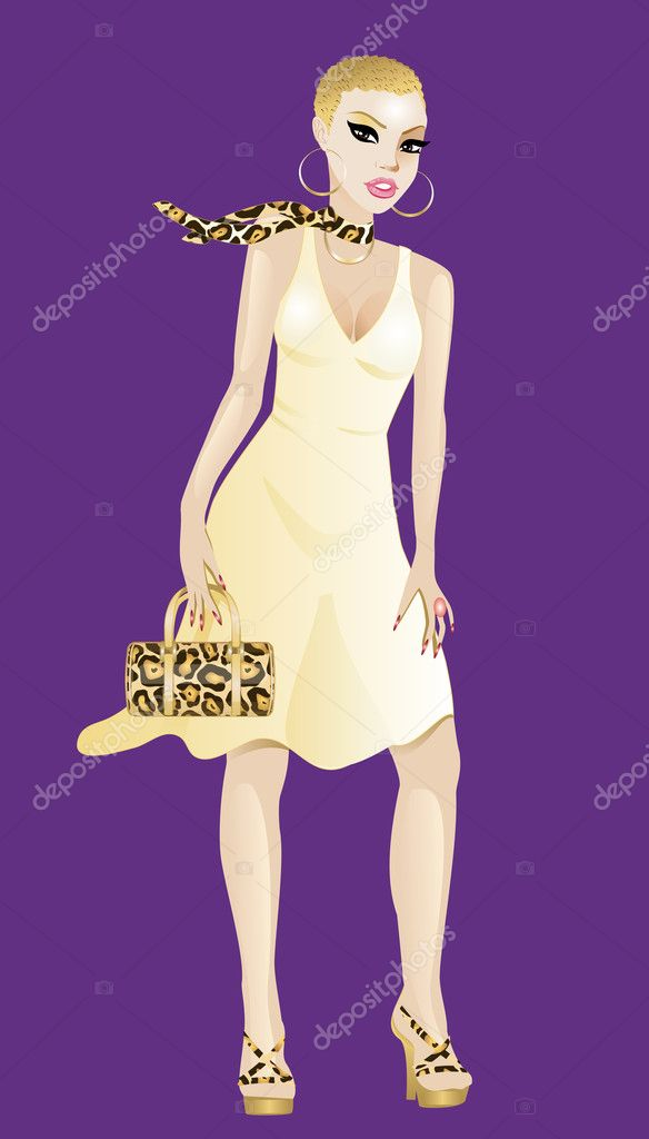 Vector Illustration of a Women in yellow and gold dress isolated on a purple background. — Stock Vector #6072683