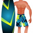 Stock Vector: Surfer Guy
