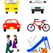 School Transportation Icons — Stock Vector