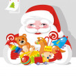 Santa Claus with children gifts - Stock Vector