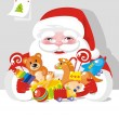 Santa Claus with children gifts — Stock Vector