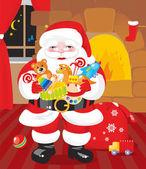 Santa claus s dárky dětem — Stock vektor