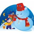 A little girl and a snowman — Stock Vector