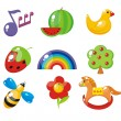 Set of child's pictures for a kindergarten — Stock Vector