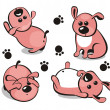 Little puppy in different poses  — Stock Vector