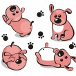 Royalty-Free Stock Vectorielle: Little puppy in different poses