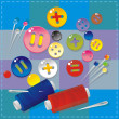 Royalty-Free Stock Vector Image: Sewing Item and multi-coloured buttons