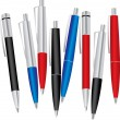 Set of colored pens: blue, black and red — Stock Vector