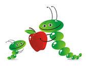 The caterpillar-mum and caterpillar-child — Stock Vector
