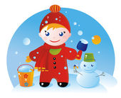 A little boy on a winter walk and his Snowman — Stock Vector