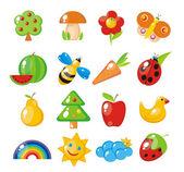 儿童性质研究。植物群和动物区系,自然现象. — 图库矢量图片
