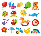 Set of colorful children's pictures for kindergarten — Stock Vector
