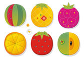 Fruit applique fabric — Stock Vector