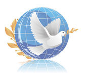 Dove of peace near globe — Stock Vector