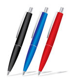 Set of colored pens: blue, black and red — Stockvector