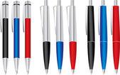 Zestaw kolorowych długopisów: niebieski, czarny i czerwony — Wektor stockowy