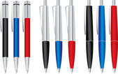Set of colored pens: blue, black and red — Vecteur