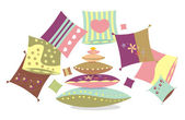 Set of multi-coloured pillows with patterns — Stock Vector