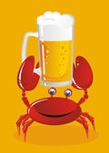 The crab holds a mug of light beer — Stock Vector