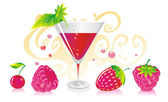Berry liqueur — Stock Vector