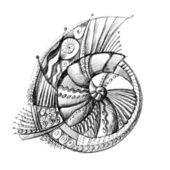 Abstract unusual pencil drawing spiral shell — Stock Photo