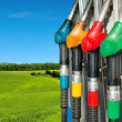 Gas pump nozzles over a nature background — Stock Photo