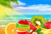 Fruit on a beach — Stock Photo