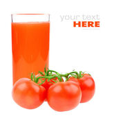 Tomato juice and tomatoes isolated on white background — Stock Photo
