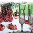 Champagne with christmas decorations — Stock Photo
