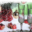 Champagne with christmas decorations — Stockfoto