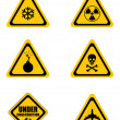 Set triangular warning signs — Stock Photo