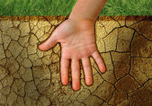 Hand in the land — Stock Photo
