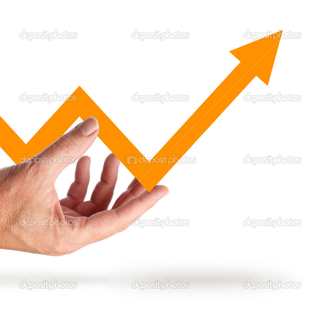 Hand holds a graph that goes to the positive — Stock Photo #6745884
