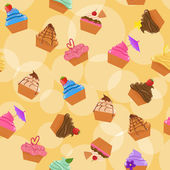 Seamless cupcakes background — Stock Vector
