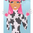 Cute girl in cow costume - Stock Vector
