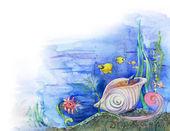 Pescado y cáscara del mar — Foto de Stock