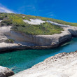 White chalk cliffs eroded coastline — Stock Photo