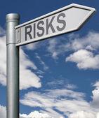Risks road sign arrow — Stock Photo