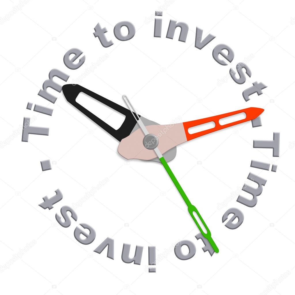 Time to invest in a retirement plan in stock during market growth isolated clock indicating time for safe investment or adjust your scedule with time investment — Stock Photo #5591587