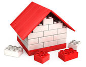 3D house of the plastic pieces of children's play — Stock Photo