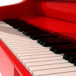 Red piano in white room — Stock Photo