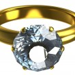 Ring with a large diamond — Stock Photo