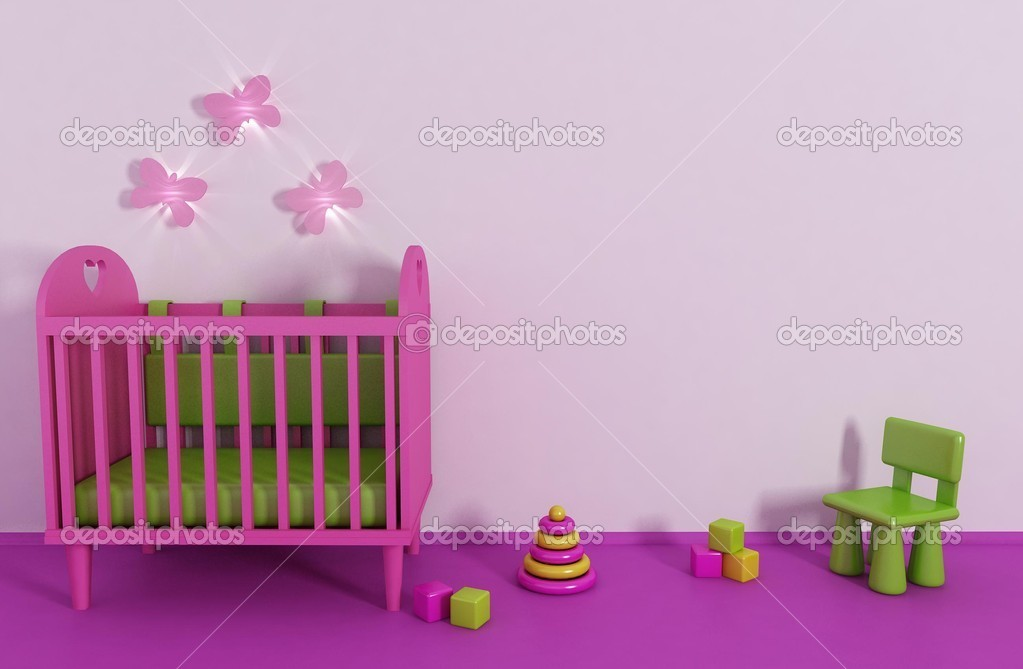 3d Girl's room in pink color and toy  Stock Photo #5979754