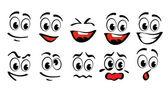 Caras de dibujos animados — Vector de stock