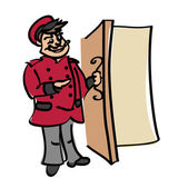Portier w tradycyjnych strojach w drzwi — Wektor stockowy