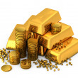 Stock Photo: 3d gold bars and coins