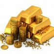 3d gold bars and coins — Stock Photo #6584110