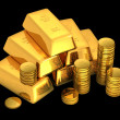 3d gold bars and coins — Stok fotoğraf
