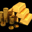 3d gold bars and coins — Stock Photo #6584120